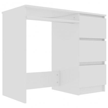 Psací stůl Parkville - dřevotříska - bílý s vysokým leskem   90x45x76 cm