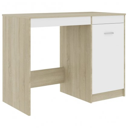 Psací stůl Ewing - dřevotříska - bílý a dub sonoma | 100x50x76 cm