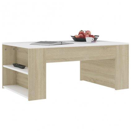 Konferenční stolek Mitchell - 100x60x42 cm | bílý a dub sonoma