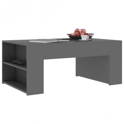 Konferenční stolek Mitchell - šedý vysoký lesk | 100x60x42 cm