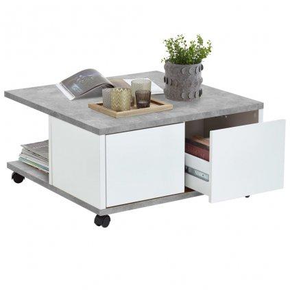 Mobilní konferenční stolek Stoneburg - 70 x 70 x 35,5 cm   betonová a lesklá bílá