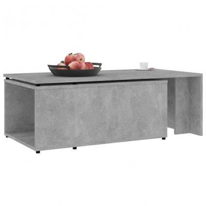 Konferenční stolek Hawley - betonově šedý - 150 x 50 x 35 cm | dřevotříska