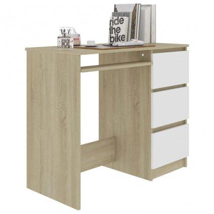 Psací stůl Phases - bílý a dub sonoma | 90x45x76 cm
