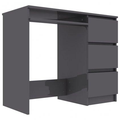 Psací stůl Cardup - dřevotříska - šedý s vysokým leskem | 90x45x76 cm