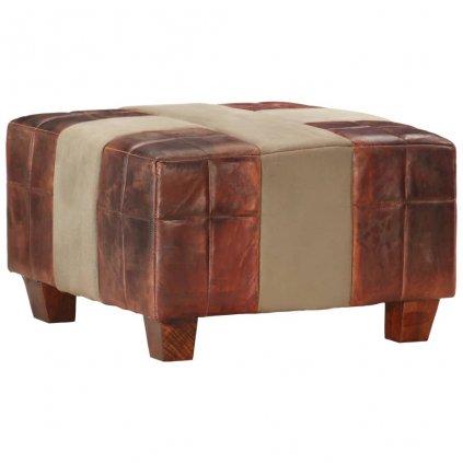 1-místná stolička Kameron - pravá kozí kůže | hnědá a šedá