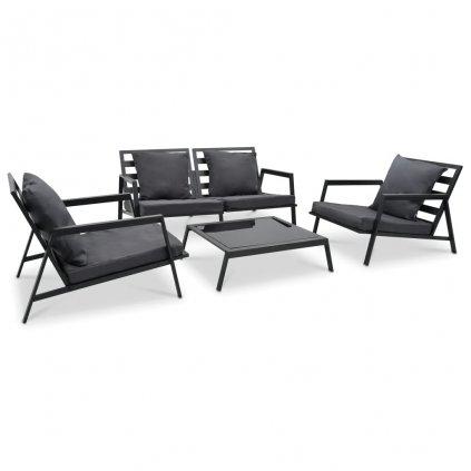 Zahradní sedací souprava - 4dílná - s poduškami - hliník | tmavě šedá