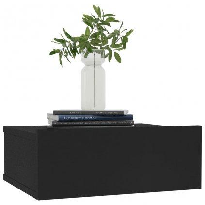 Nástěnný noční stolek Miracle - černý | 40x30x15 cm