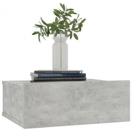 Nástěnný noční stolek Miracle - betonově šedý | 40x30x15 cm