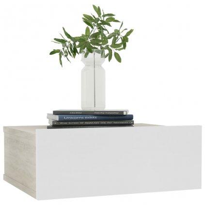 Nástěnný noční stolek Miracle - bílý a dub sonoma | 40x30x15 cm