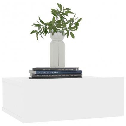 Nástěnné noční stolky Miracle - 2 ks - lesklé bílé | 40x30x15 cm