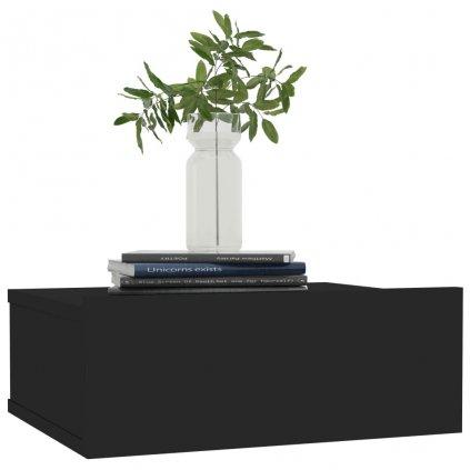 Nástěnný noční stolek Miracle - černý vysoký lesk | 40x30x15 cm