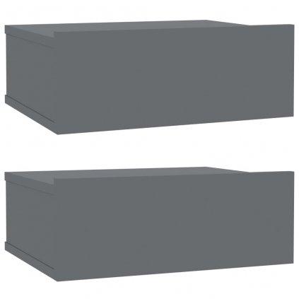 Nástěnné noční stolky Miracle - 2 ks - lesklé šedé | 40x30x15 cm