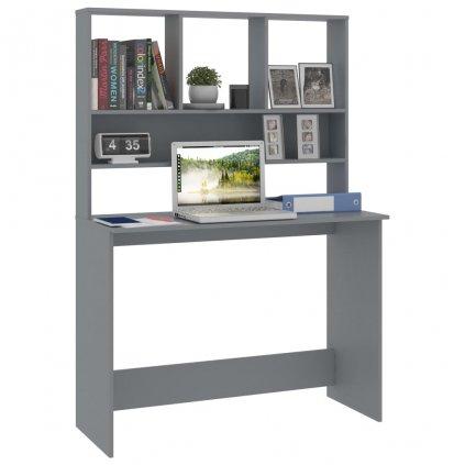 Psací stůl Bonard s policemi - šedý | 110x45x157 cm