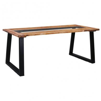 Jídelní stůl Wellton - masivní akáciové dřevo a sklo | 180x90x75 cm