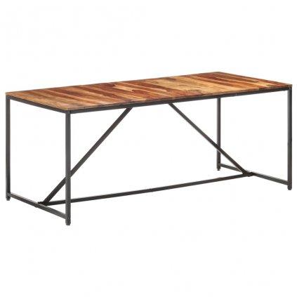 Jídelní stůl Lumber - masivní sheeshamové dřevo - černý | 180 x 90 x 76 cm
