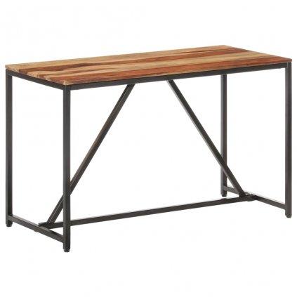 Jídelní stůl Lumber - masivní sheeshamové dřevo - černý | 120 x 60 x 76 cm
