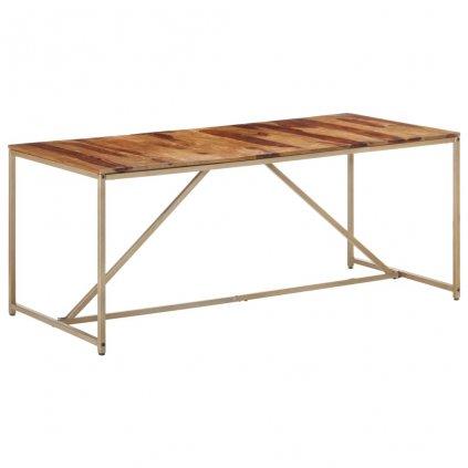 Jídelní stůl Lumber - masivní sheeshamové dřevo - zlatý | 180 x 90 x 76 cm