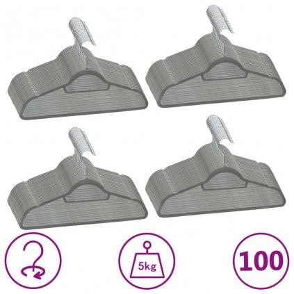 Šatní ramínka - 100 ks - protiskluzová - samet | šedá