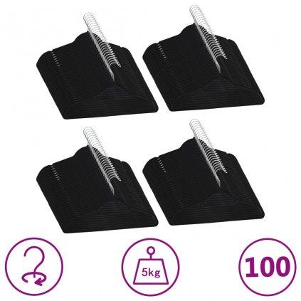Šatní ramínka - 100 ks - protiskluzová - samet | černá