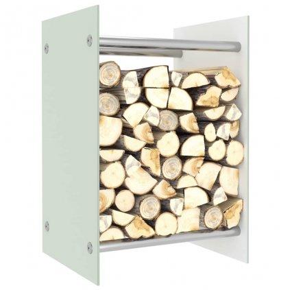 Stojan na palivové dříví - bílé sklo | 40 x 35 x 60 cm