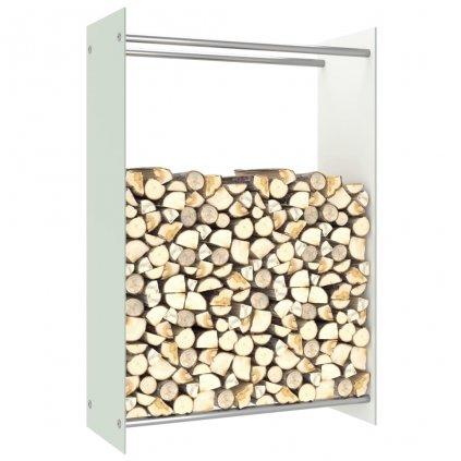 Stojan na palivové dříví - bílé sklo | 80 x 35 x 120 cm