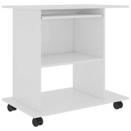 Počítačový stůl Baird - dřevotříska - 80x50x75 cm | bílý s vysokým leskem