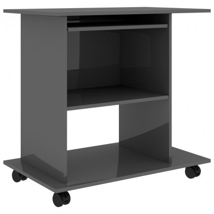 Počítačový stůl Baird - dřevotříska - 80x50x75 cm   šedý s vysokým leskem