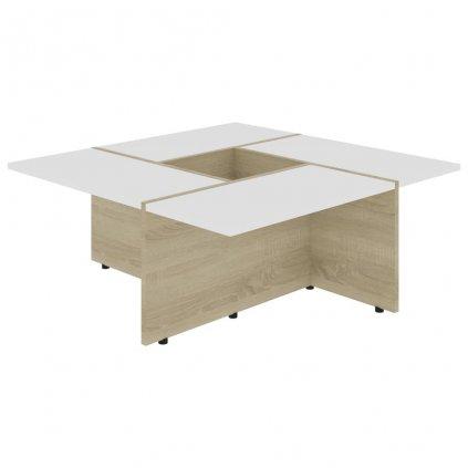 Konferenční stolek Chadron - 79,5 x 79,5 x 30 cm | bílý a dub sonoma