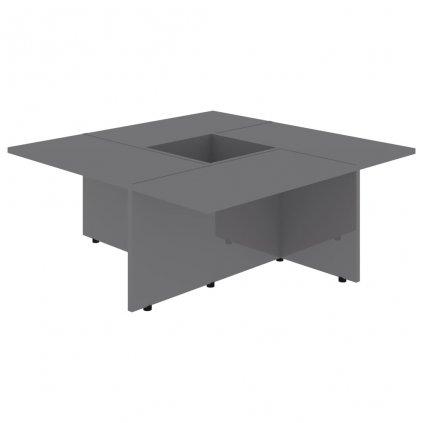 Konferenční stolek Chadron - 79,5 x 79,5 x 30 cm | vysoký lesk šedý