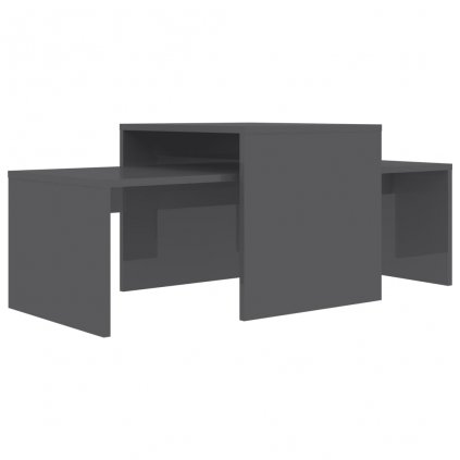 Konferenční stolky Maevas - šedé vysoký lesk | 100x48x40 cm