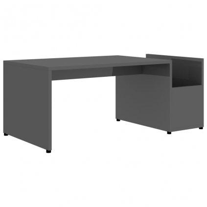 Konferenční stolek Drawin - šedý s vysokým leskem   90x45x35cm