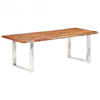 Jídelní stůl Hyder s živými hranami - masivní akáciové dřevo   220/3,8 cm