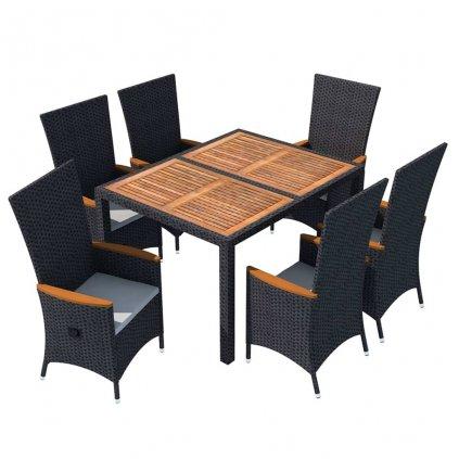 7-dílný zahradní jídelní set Winton - polyratan a akáciové dřevo | černý