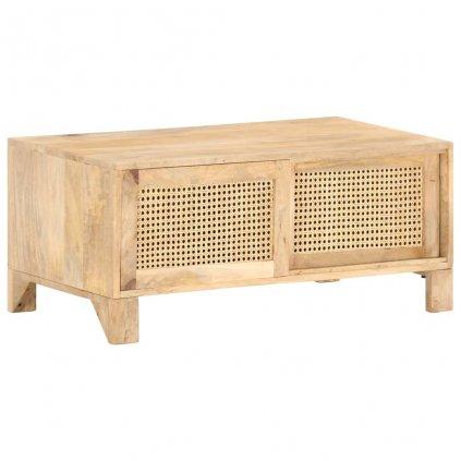 Konferenční stolek Megglett - masivní mangovníkové dřevo a přírodní rákos | 90 x 50 x 40 cm