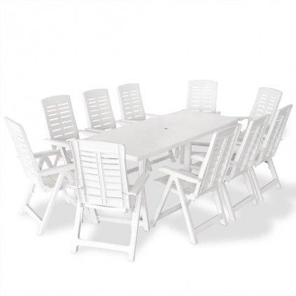 11-dílný Llanido - zahradní jídelní set - plastový | bílý