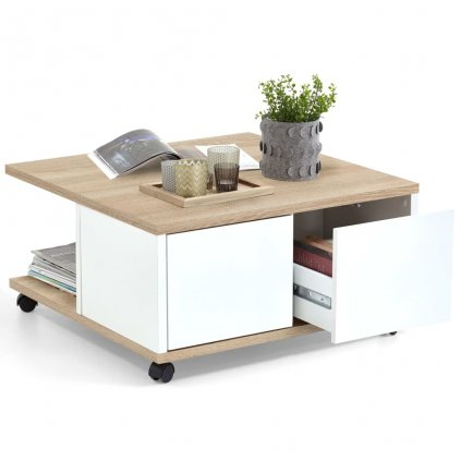 Mobilní konferenční stolek - bílá | 70x70x36 cm