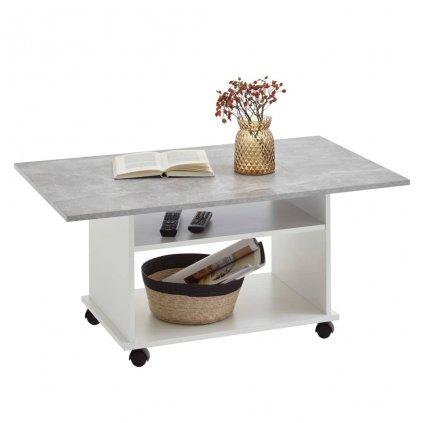 Konferenční stolek Robbey s kolečky | betonově šedý/bílý
