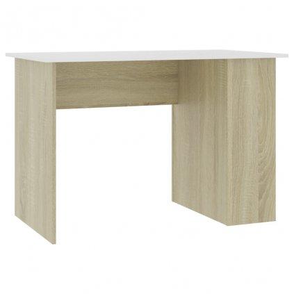 Psací stůl Lyndoch - dřevotříska - bílý a dub sonoma   110x60x73 cm