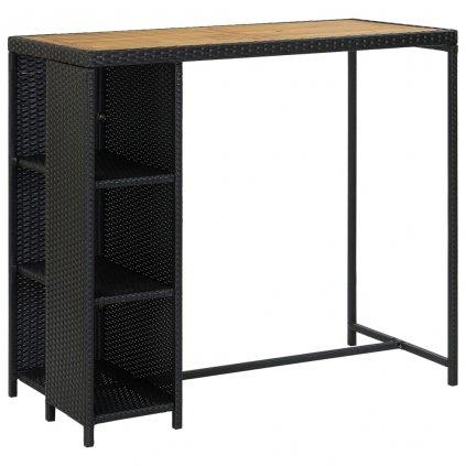 Barový stolek Callvary s úložným regálem - 120x60x110 cm - polyratan   černý