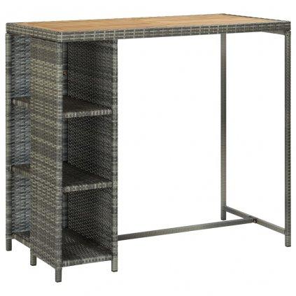 Barový stolek Callvary s úložným regálem - 120x60x110 cm - polyratan   šedý