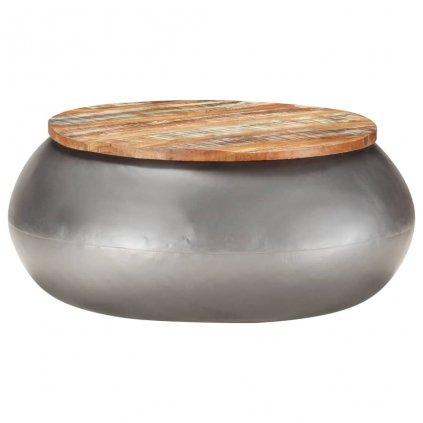 Konferenční stolek Lorton - 68x68x30 cm - masivní recyklované dřevo   šedý