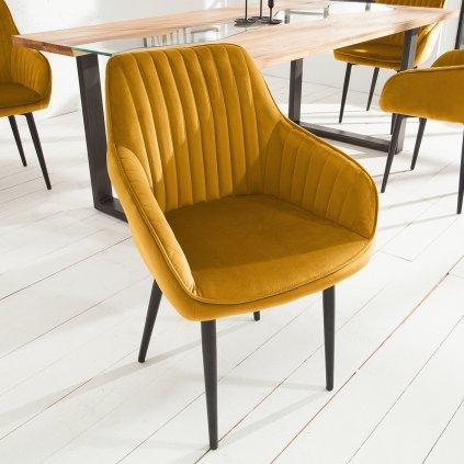 Jídelní židle Riverton - 2 kusy   hořčicově žlutá