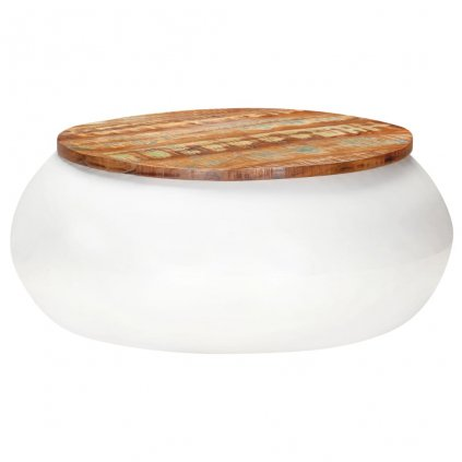 Konferenční stolek Larton - 68x68x30 cm - masivní recyklované dřevo | bílý