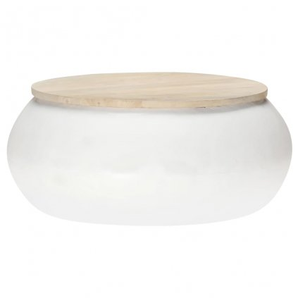 Konferenční stolek Larton - 68x68x30 cm - masivní mangovník | bílý
