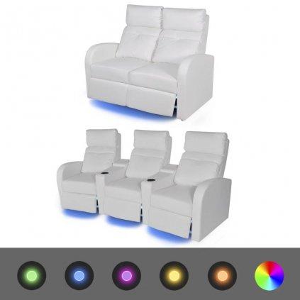 2 ks LED polohovací křesla 2-místné + 3-místné - umělá kůže | bílá