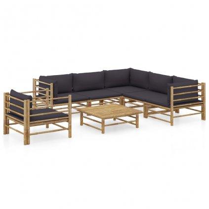 7-dílná zahradní sedací souprava Casstor - bambus | tmavě šedé podušky