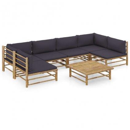 7-dílná zahradní sedací souprava Dellanco - bambus | tmavě šedé podušky