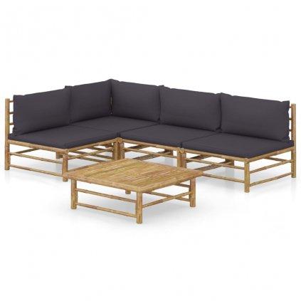 5-dílná zahradní sedací souprava Dellia - bambus | tmavě šedé podušky