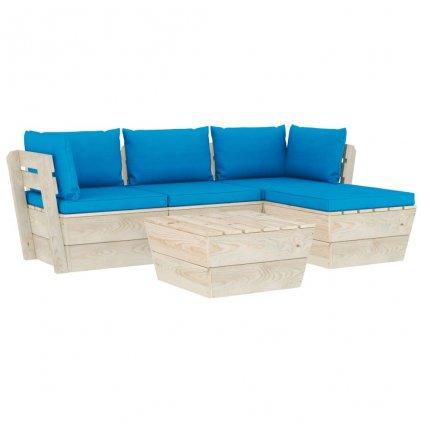 5-dílná zahradní sedací souprava Messia z palet - podušky | smrkové dřevo
