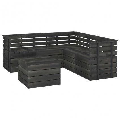 6-dílná zahradní sedací souprava Kirbis z palet - borovice | tmavě šedá